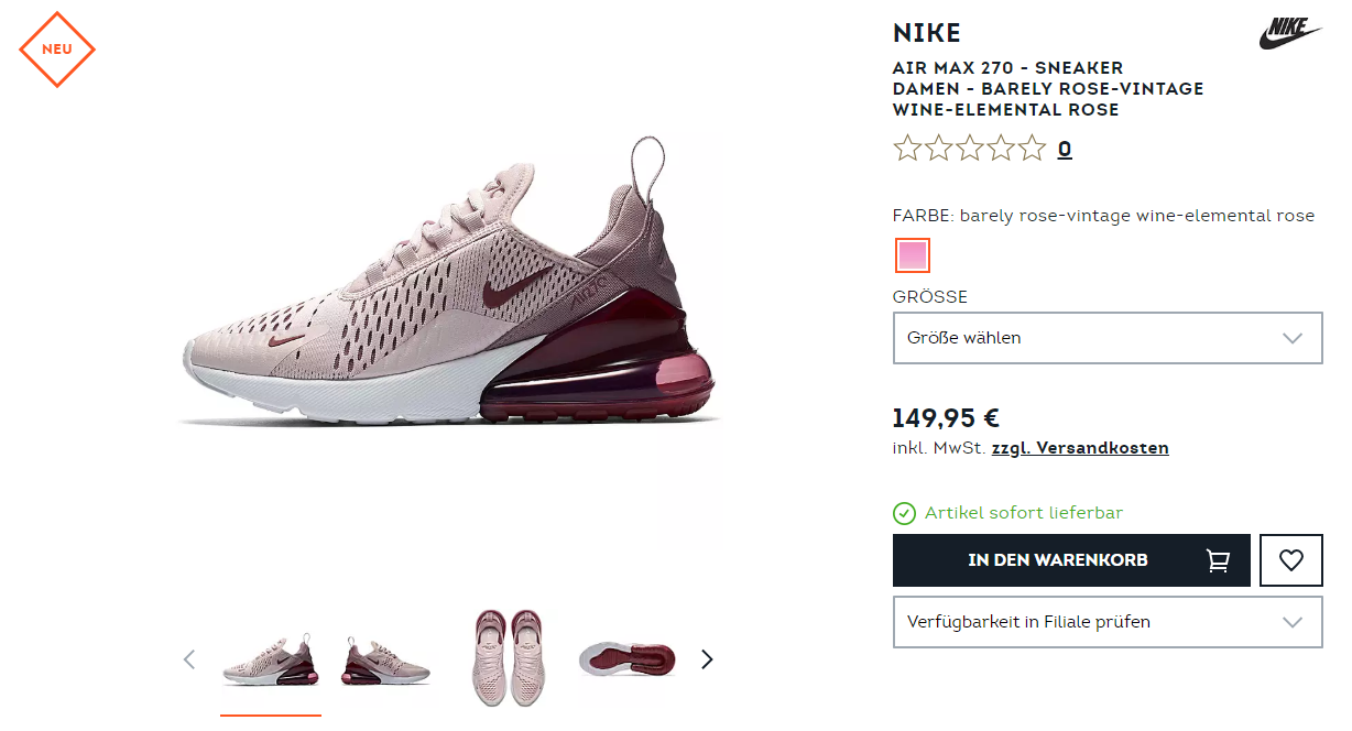 Nike Air Max 270 – Barely Rose / Vintage Wine | snkraddicted